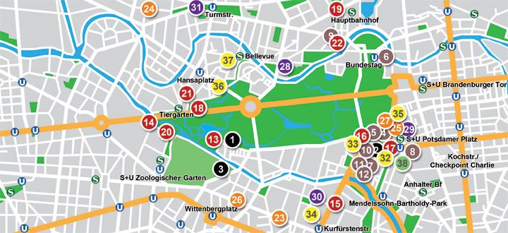 Restaurantes Tiergarten Map